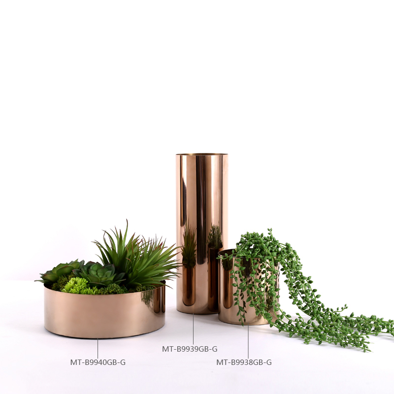 Darchin luxury style rose gold flower vases for home decoration