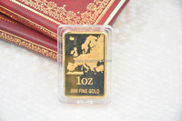 1 OZ 999.9 Fine Gold Plated Bullion Bars/Coins Pure Gold Bars With Acrylic Box For Promotion