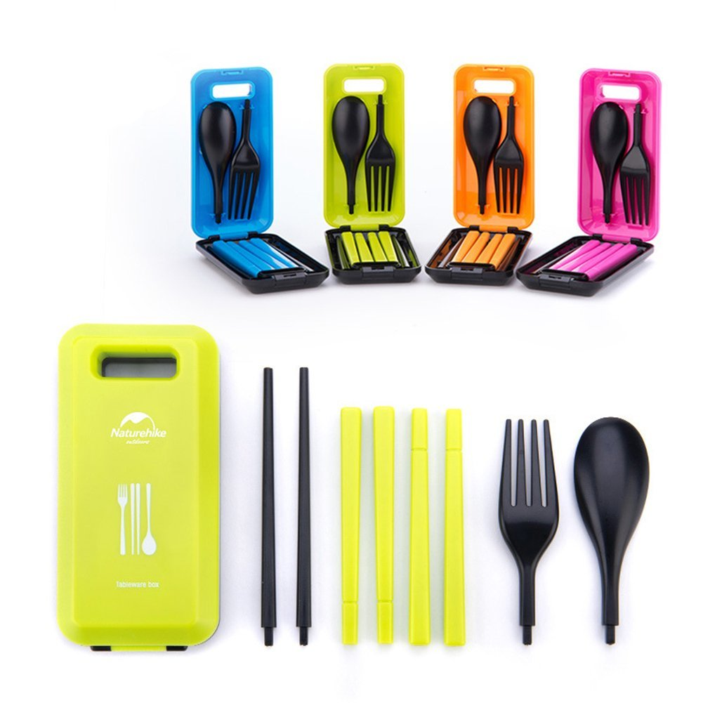 Environmental Portable Outdoor Cutlery Flatware Fork Spoon Chopsticks Three-piece Set |Cutlery Set Portable Tableware Box with Combination Spoon Fork Chopsticks for Travel Camping Picnic- Random Color