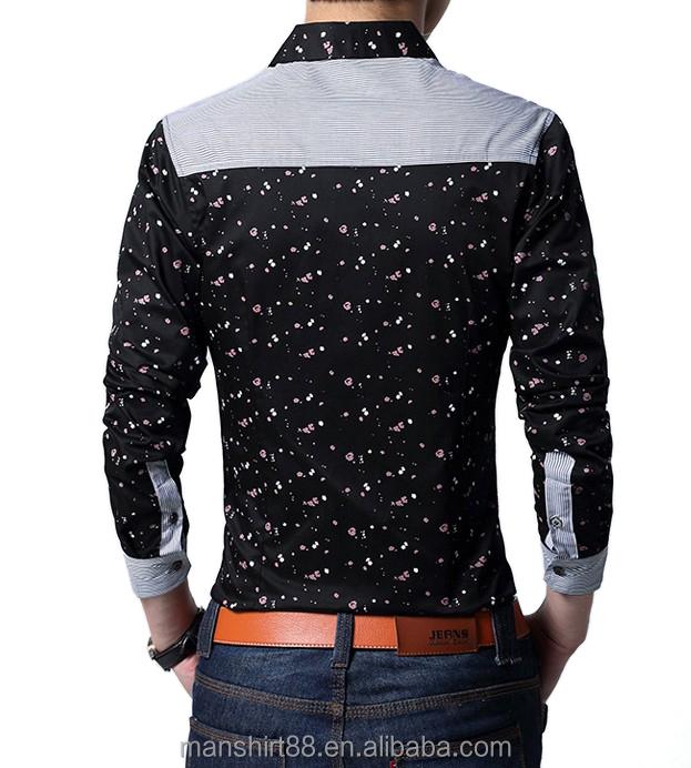 2016 Unique Design Slim Fit Contrast Color Man Printed Dress Shirt ...