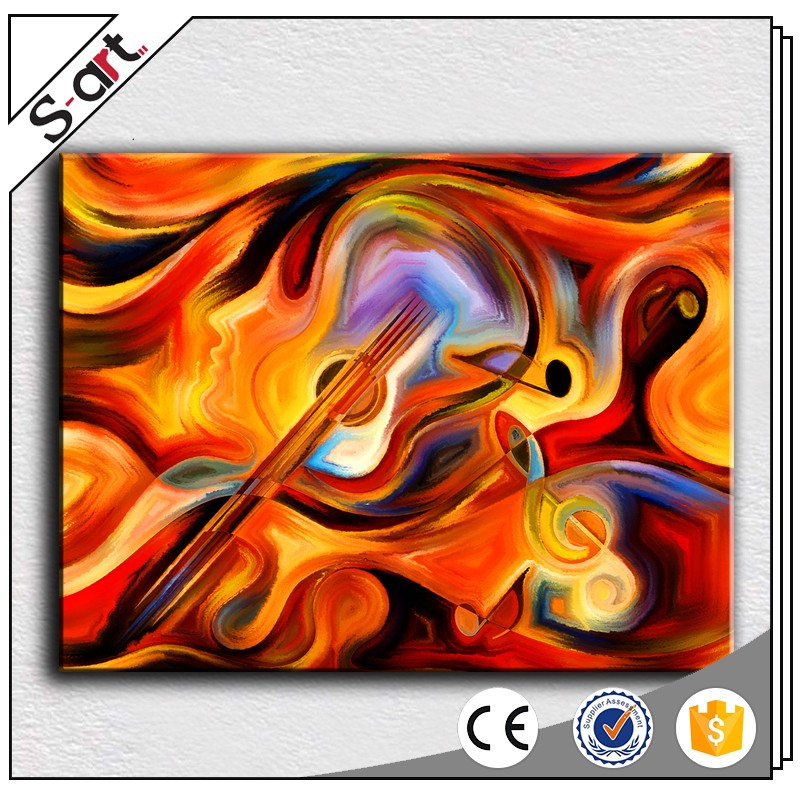 Music Instrument Abstract Guitar Canvas Oil Painting For Living