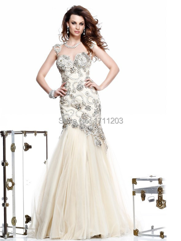 d8fc54101 Get Quotations · Exquisite Beaded Appliques Organza Mermaid Dresses Evening  Dresses Long Prom Gowns 2015 Vestido De Festa Vestido