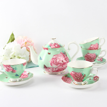 Vintage Royal Tea Pot Set Rosa Rosa Tazze da Tè e Piattini