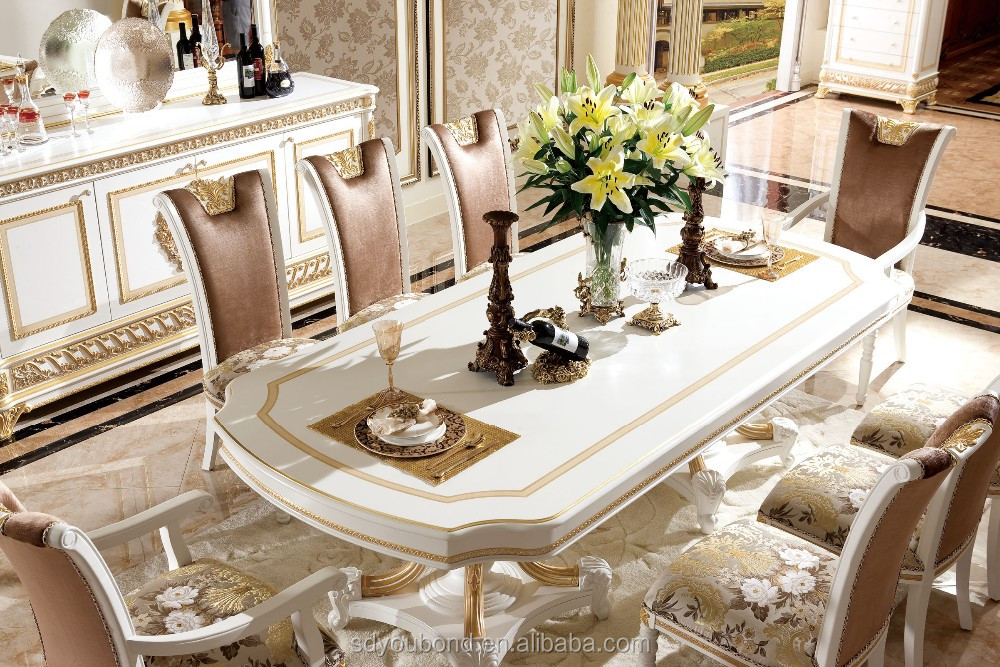 0062w Italian Royal Clic Dining Room Furniture Wooden White Gold Table And Chair