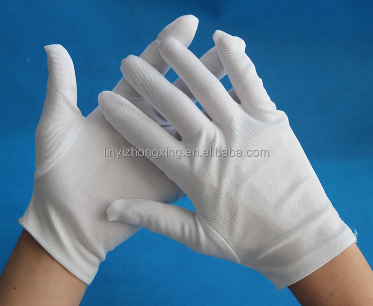 white 100% nylon lady inspection safety hand gloves