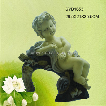 Polyresin angel statue for garden ornament