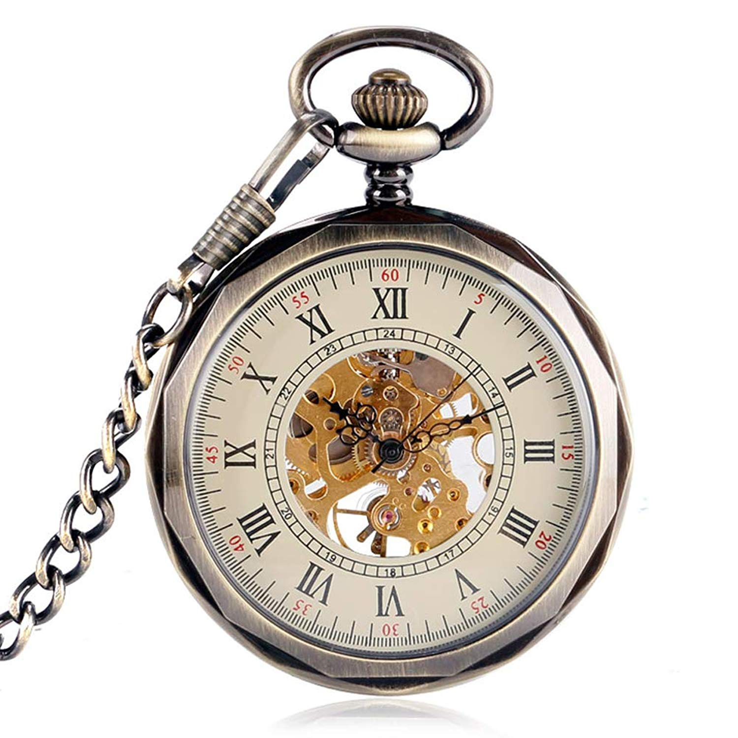 c95b4cf18 Get Quotations · Casual Pocket Watch, Mechanical Hand Wind Pocket Watch for  Men, Vintage Retro Pocket Watch