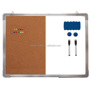 "Combination Whiteboard Bulletin Board Set - Dry Erase / Cork Board 24 x 18"" + 1 Magnetic Dry Eraser, 2 Black Markers, 2 Magnets"