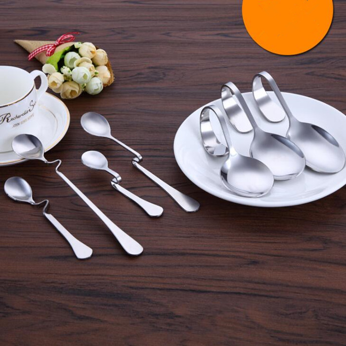Stainless Steel Bending Hanging Cup spoon Coffee Spoon Bent Suspension Jam honey Spoon