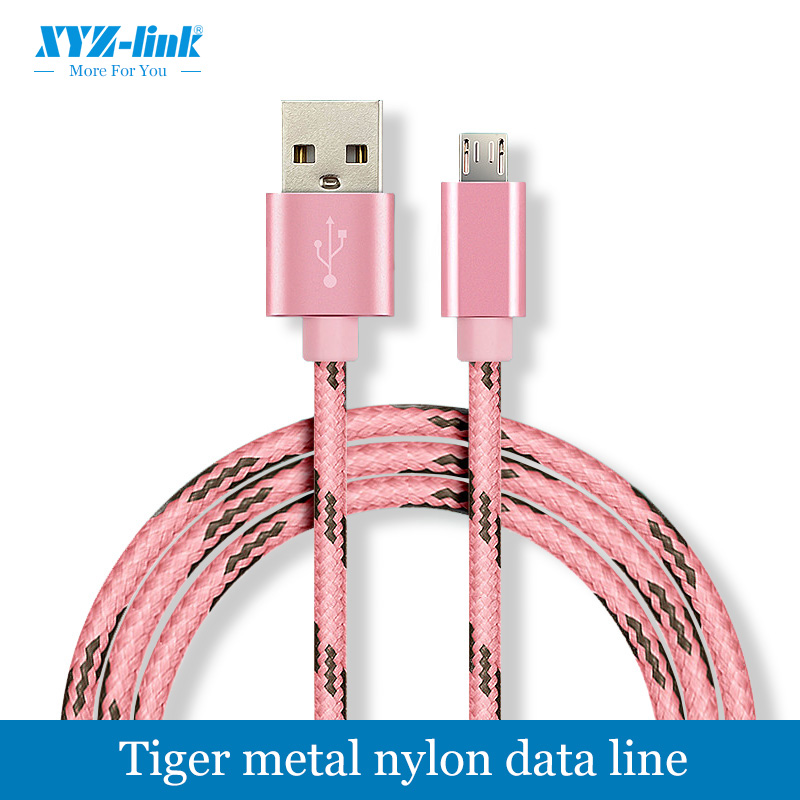 High quality new style tiger metal nylon data cable for samsung