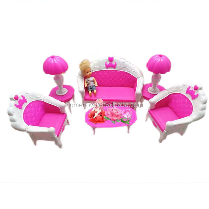 China Factory Wholesale 6Pcs Pink Plastic DIY Girl Doll House Sofa Chair Furniture Kits