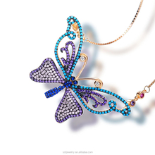 best christmas gift jewelery necklace accessories micro pave colorful butterfly necklace