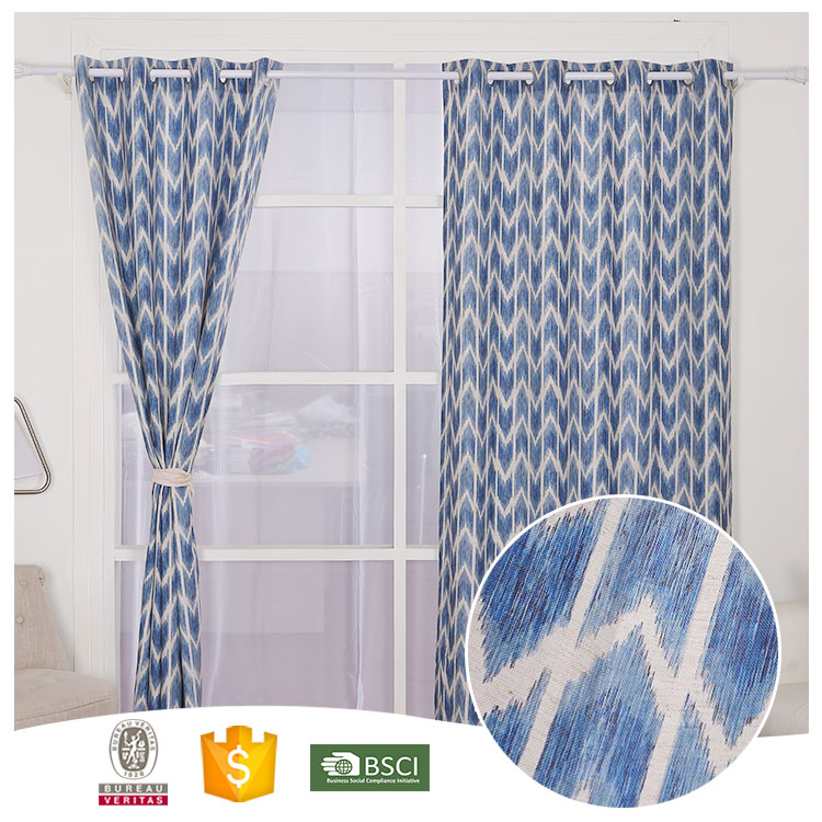 Famous Brand Colorful Blue Striped Blackout Curtain