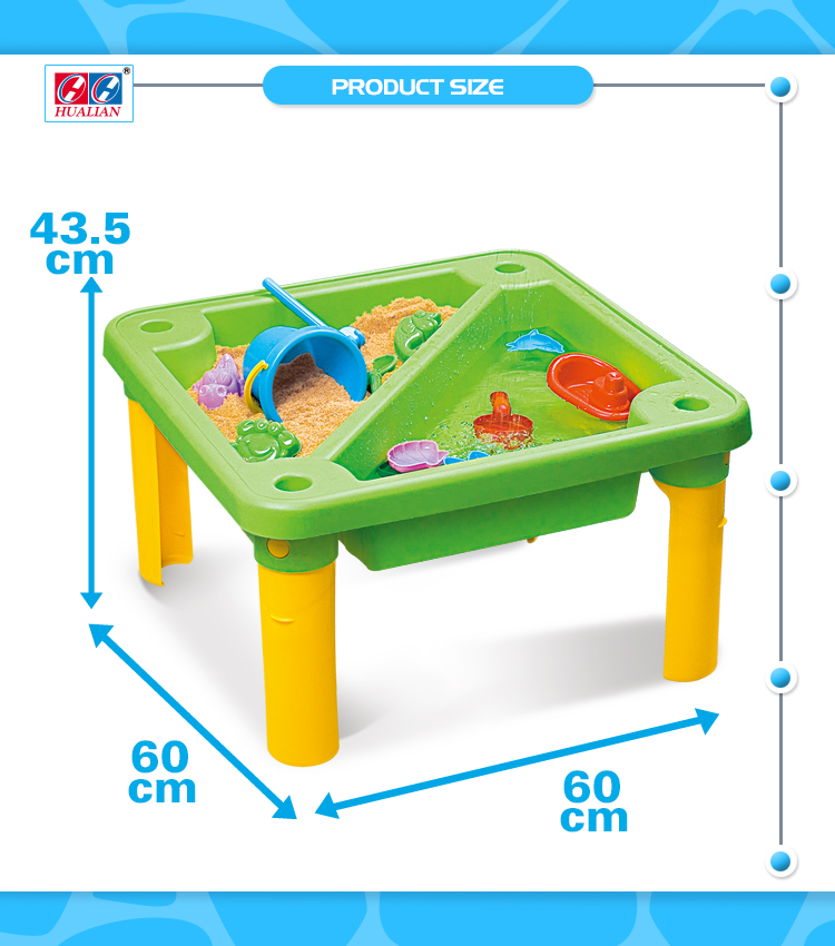 Hualian Plastic Sand And Water Beach Square Green Table With Cover
