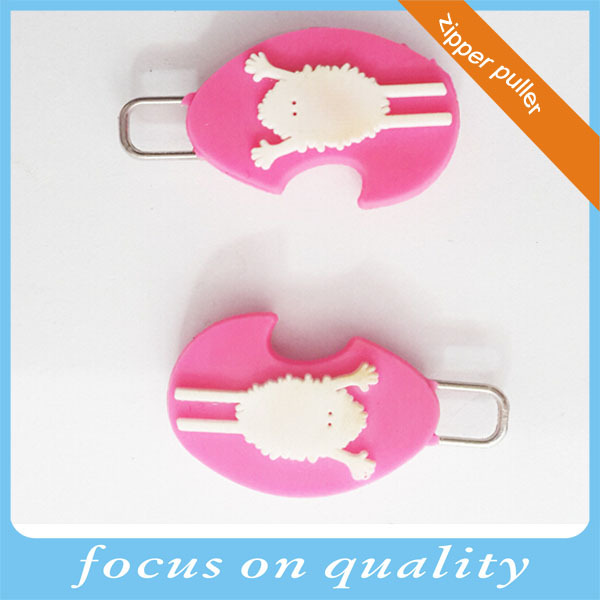 high quality customized garment accessories decorative 3d zipper pull covers rubber