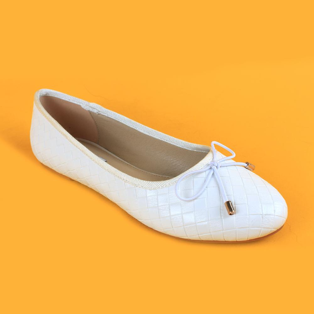 Women White Flat Belly Shoes Lady Basic