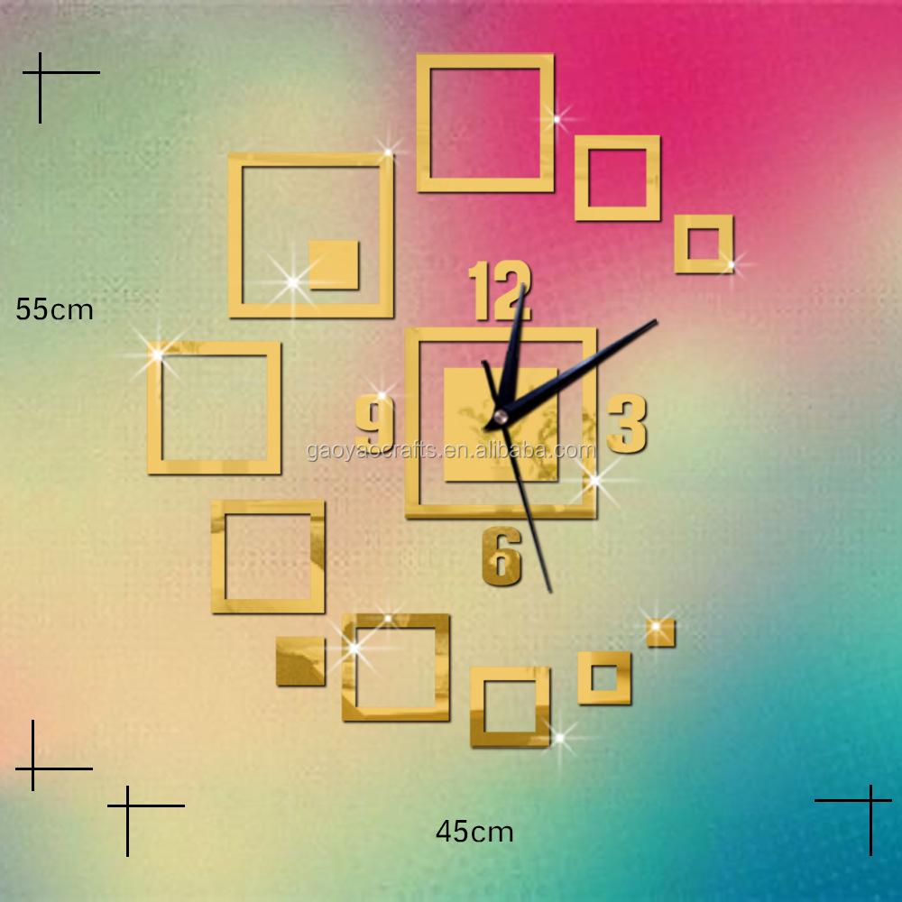 Geometric Pattern Square 3d Acrylic Clock Mirror Wall Decor Home ...
