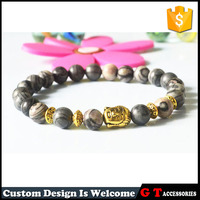 2017 fashion metal 14k gold plated charm beads bracelet for promotional gifts, natural stone beads bracelet