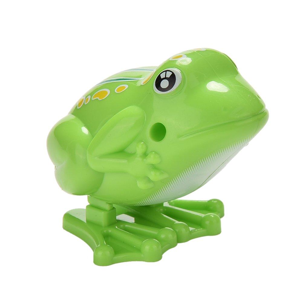 Welecom 1 Pcs Clockwork Frog Cartoon Plastic Jumping Frog Clockwork Wind-up Toys