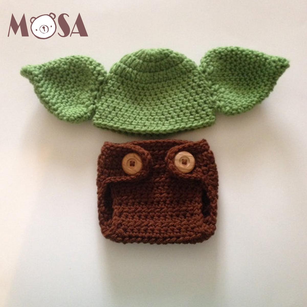 Crochet Newborn Yoda Inspired Baby Green Hat And Matching Brown