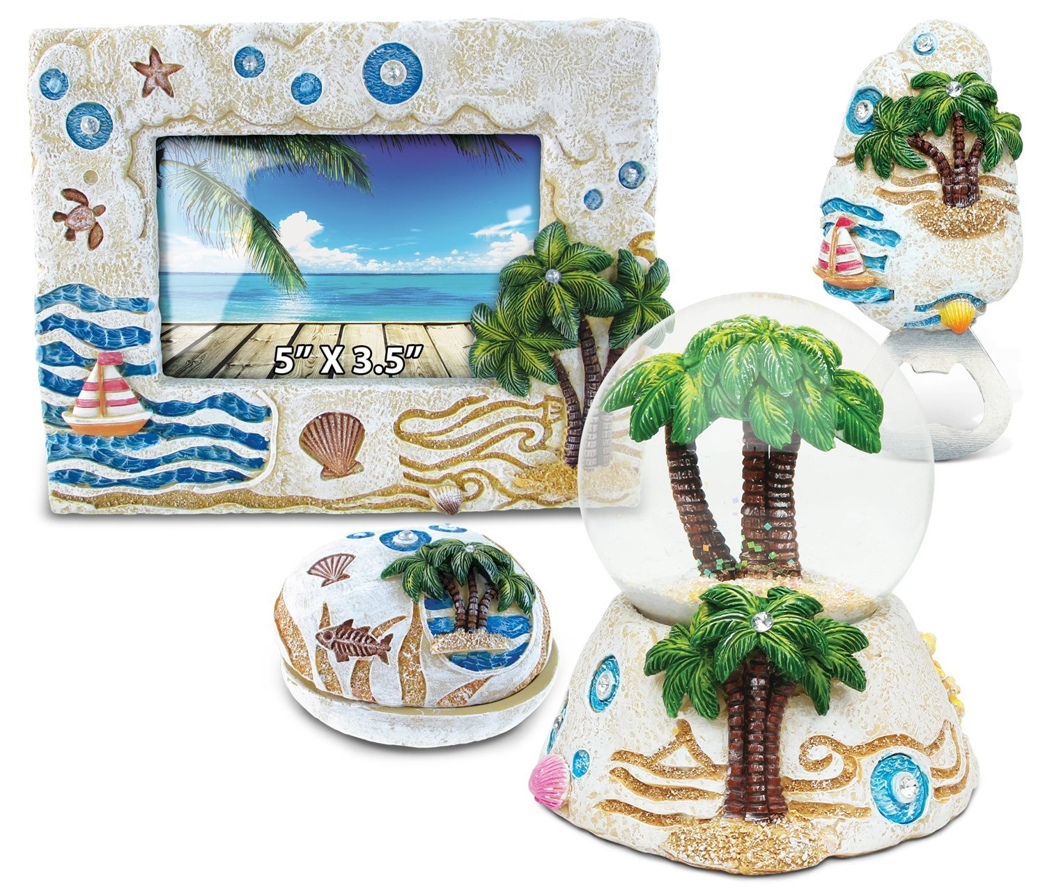 Puzzled Palm Tree Resin Stone Finish Collection including Picture/Photo Frame, Jewelry Box , Snow Globe, and Magnet Bottle Opener - Picture Size 5 by 3 - Unique Elegant Gift and Souvenir