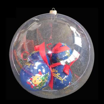 big openable transparent plastic christmas ball with small balls - Plastic Christmas Balls