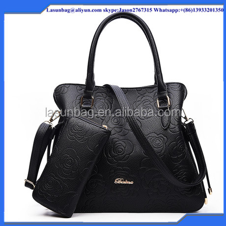 2016 May Brand Design Women 2 pcs Handbag for Fashon Ladies Embossed Leather Handbag