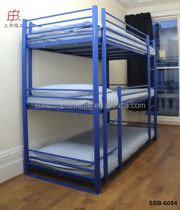 2015 modern fashionable lovely colorful mdf and metal material triple kids bunk bed with slide - Balances hoogslaper ...
