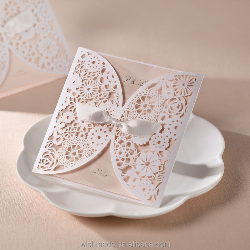 Unique Wedding Invitation Card White Flower Laser Cut Design Cover ...
