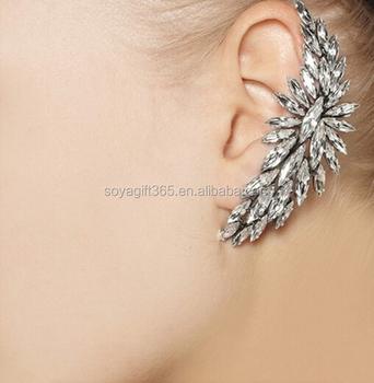 Punk Full Crystal Rhinestone Flower Ear Cuff Piercing Chain Earring Buy Clip Earrings Earrings Ear Cuff Product On Alibaba Com