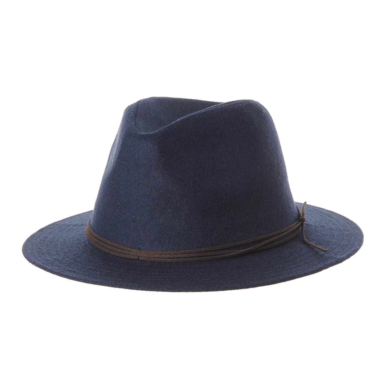 c338e491465b8 Get Quotations · WITHMOONS Wool Felt Fedora Panama Hat Faux Leather Band  Wide Brim SL6528