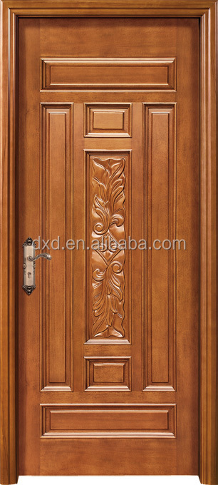 Wooden carving main door design with rob handle buy for Single door designs for indian homes