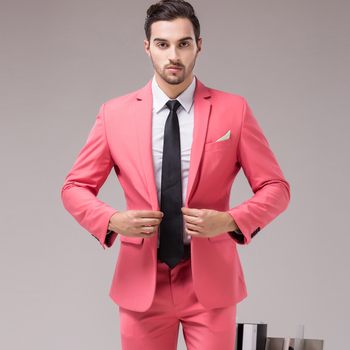 54f164ae47 wholesaleMen casual pink Party 2 pieces Suit Slim Fit New Fashion Purple  White Wedding business boy s