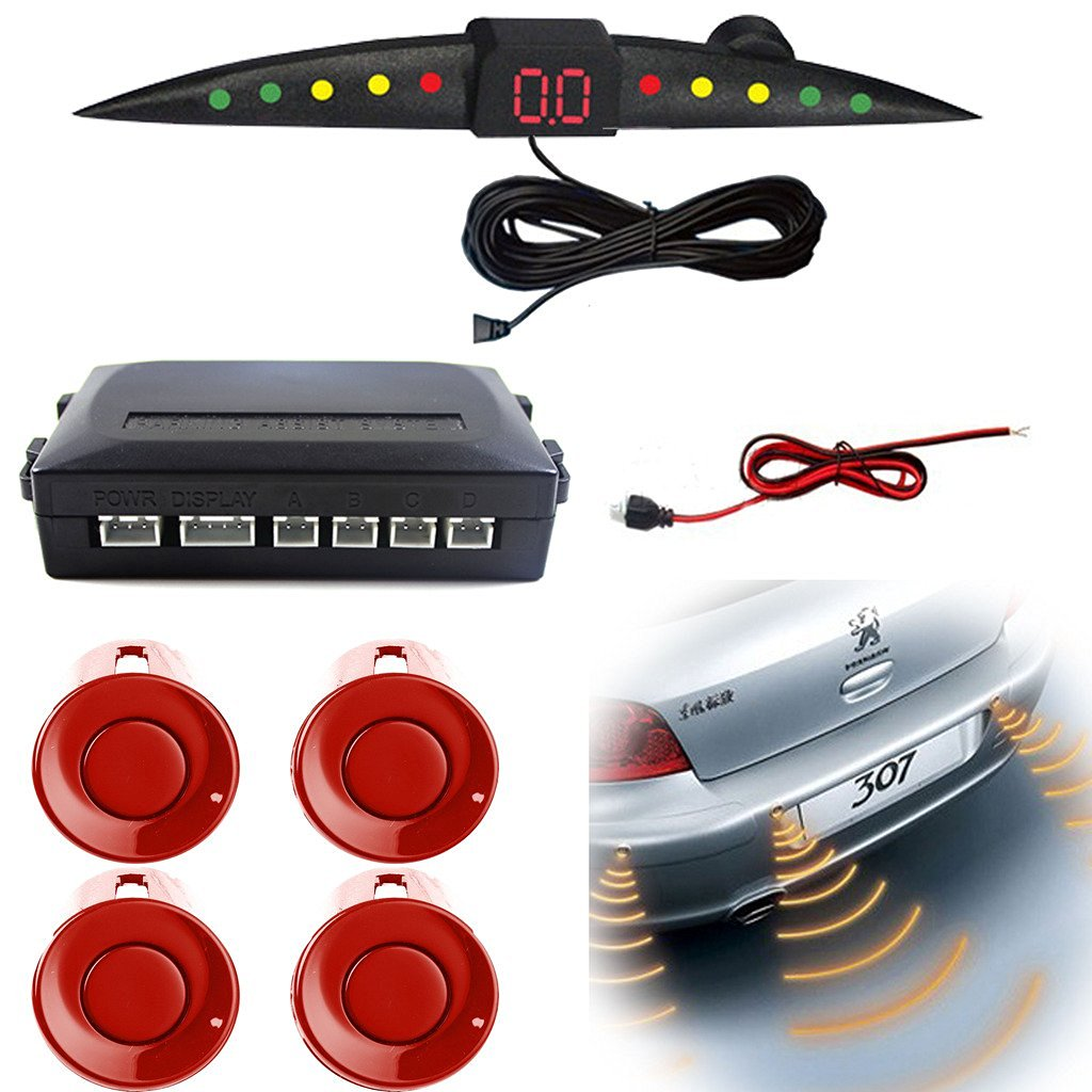 Aumo-mate Auto LED Display 4 Parking Sensors Vehicle Voice Reverse Backup Radar System with Backlight Car Sound Alert System - Red