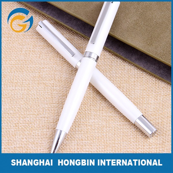 White Barrel Mont Blank Metal Roller Ball Pens