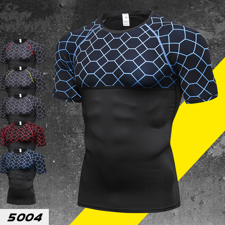 OEM Sport Fitness Compression Shirt Wear Men Bodybuilding Short Sleeve Tee Shirt Gym Athletic Running Tshirts