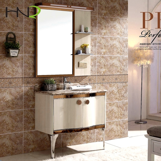 Stainless Steel Bathroom Vanity With Side Mirror Cabinet New Arrival