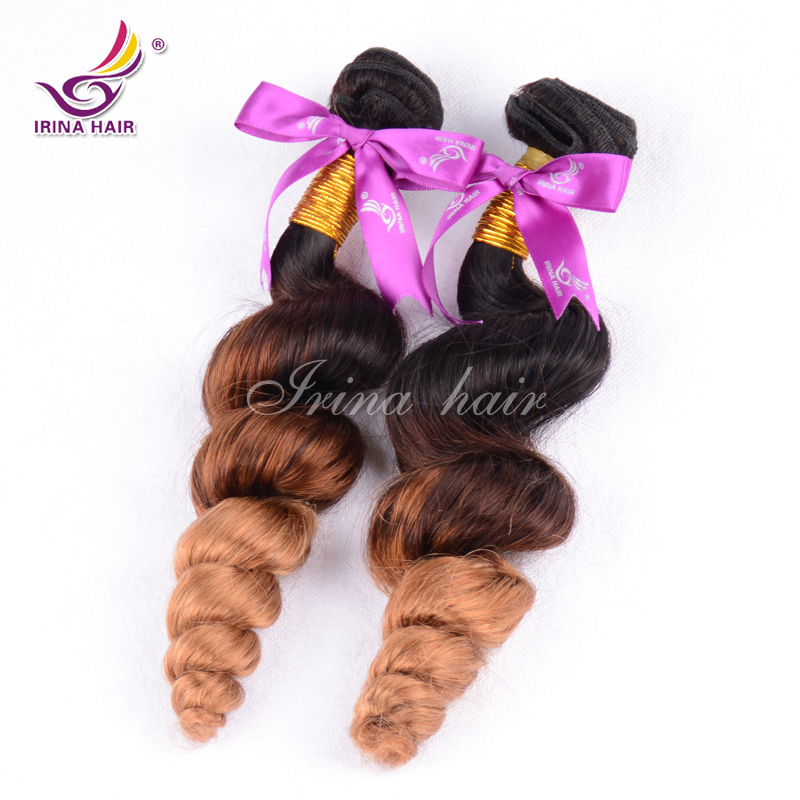 7a brazilian loose wave virgin hair 2pc lot ombre loose deep wave human hair 1b/4/27 natural brown color 3 tone ombre loose wave