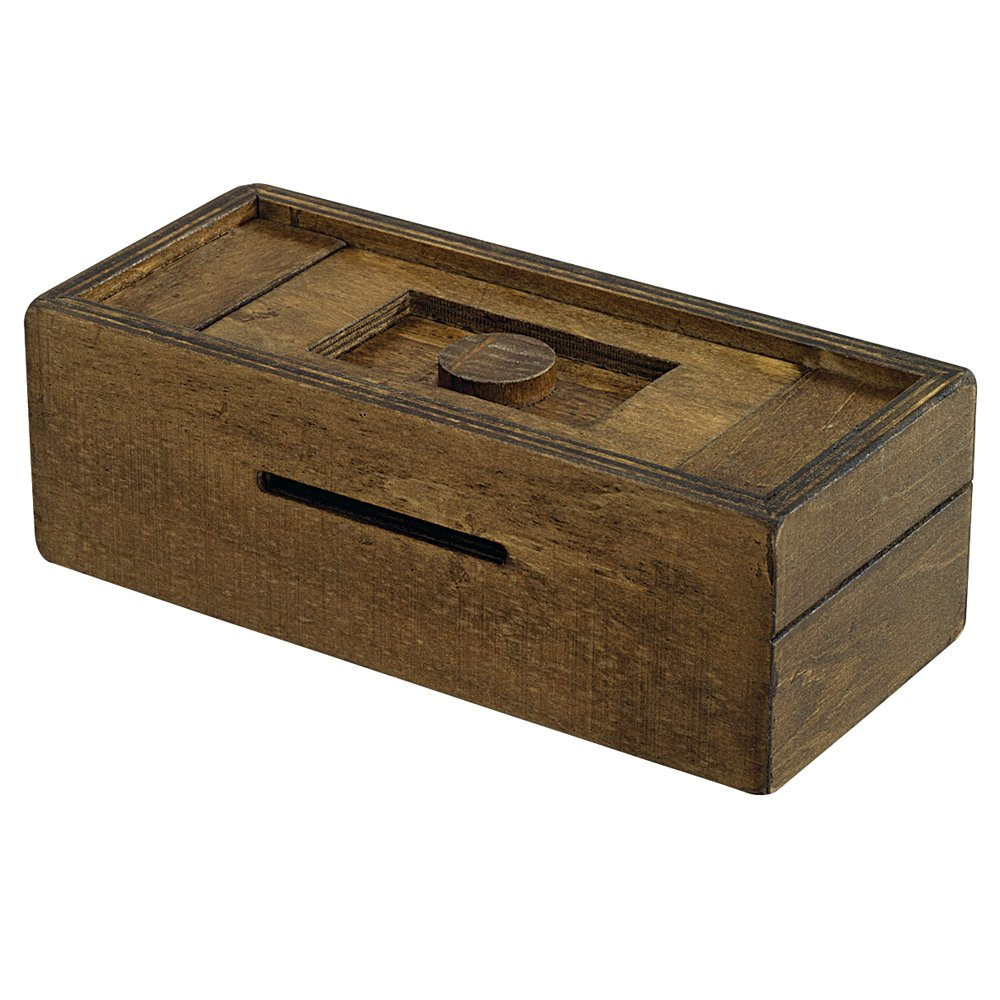 Bits And Pieces   Stash Your Cash Secret Puzzle Box Brainteaser   Wooden  Secret Compartment Brain