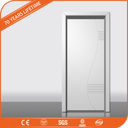 Hotel design bathroom water-resistant mdf flush wood PVC door