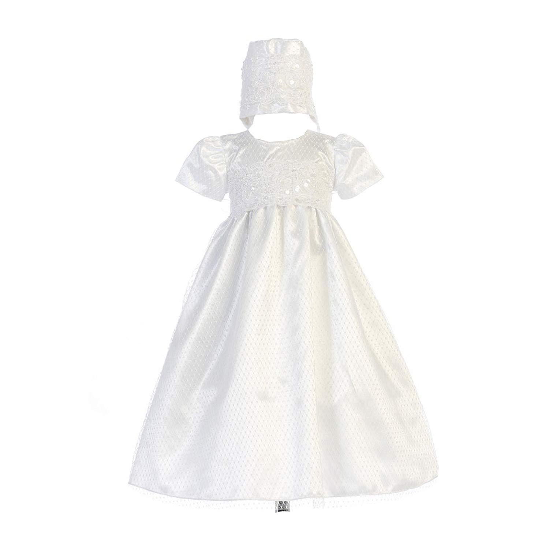 Swea Pea & Lilli Baby Girls White Diamond Mesh Lace Trim Ruby Bonnet Baptism Dress 0-18M