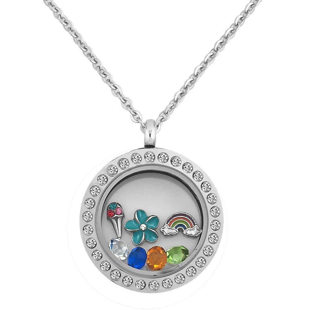 Q&Locket Round Shape Flower Rainbow Microphone Living Memory Floating Glass Locket Necklace