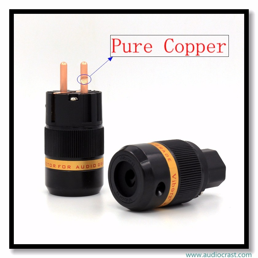 Pure Copper European plug Red Copper Schuko Power Connector For HIFI DIY Power Cable