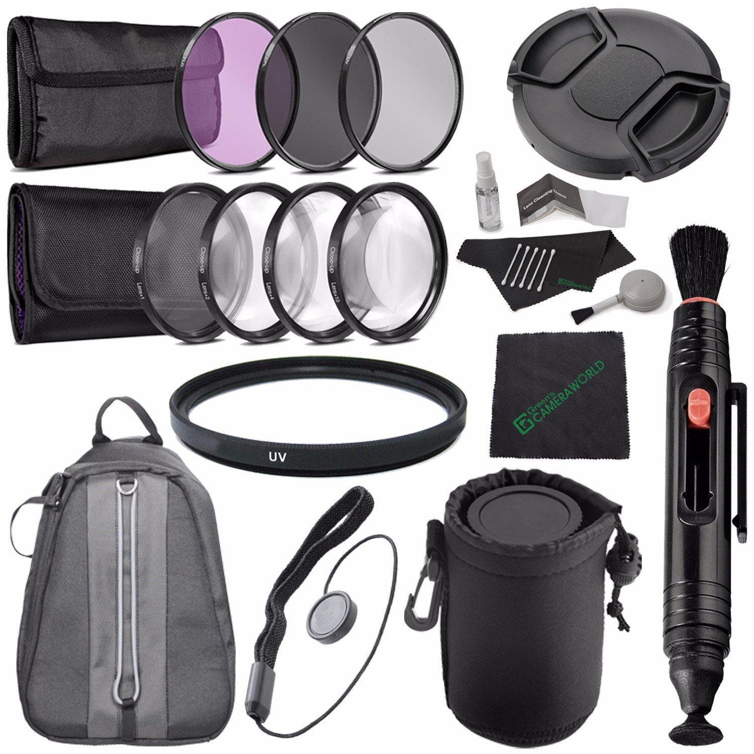 82mm 3 Piece Filter Set (UV, CPL, FL) + 82mm +1 +2 +4 +10 Close-Up Macro Filter Set with Pouch + 82mm Multicoated UV Filter + LENS CAP 82MM + Lens Pen Cleaner + Lens Cap Keeper + Cleaning Cloth Bundle