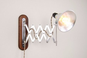 "7.24-7 Accordion Wall Lamp with Wood Backplate - 5"" Metal Shade - 8' Twisted Cloth Cord"