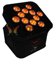 high power Wireless dmx battery powered led par,12X18W 6in1 RGBAW+UV led flat par can