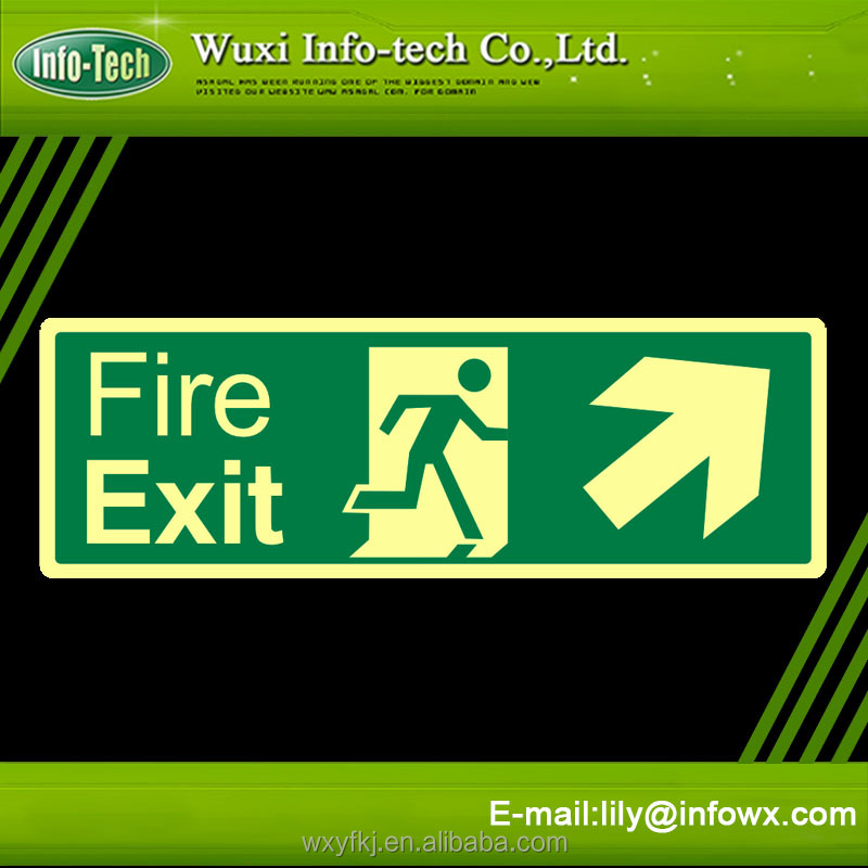 Luminous plastic arrow fire exit sign board glow in the dark