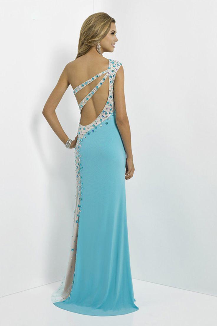 2015 free shipping glorious long prom dresses one shoulder sheath column open back chiffon. Black Bedroom Furniture Sets. Home Design Ideas