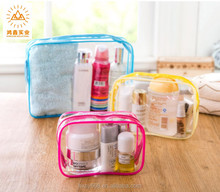 fashion transparent PVC cosmetic bag travelling makeup bag with zipper plastic bag