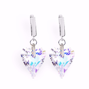 Alibaba Express 925 Fashionable Jewelry Wild Heart Earrings with Crystals